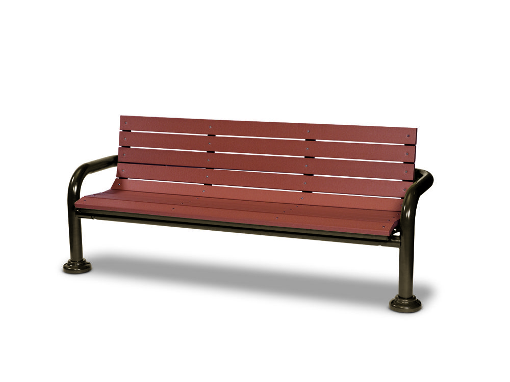 6' Recycled Plastic Contemporary Bench with Back - In-ground (MRGV430G)