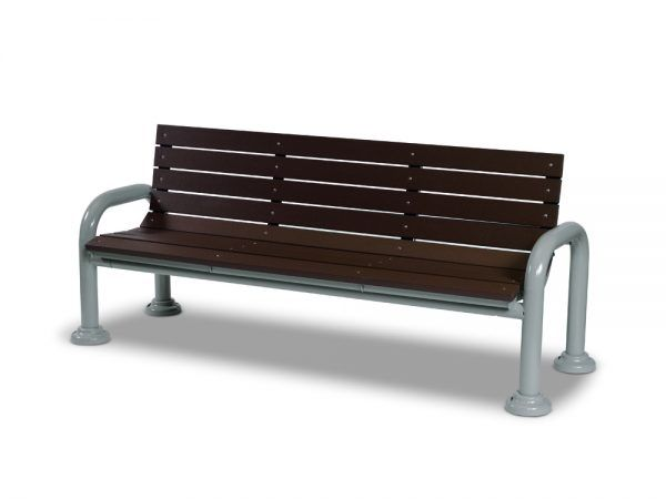 6' Recycled Plastic Contemporary Bench with Back - Portable/Surface Mount (MRGV420G)