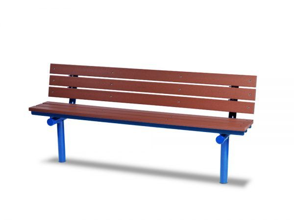 6' Recycled Plastic Plank Bench with Back - In-ground (MRGV303G)