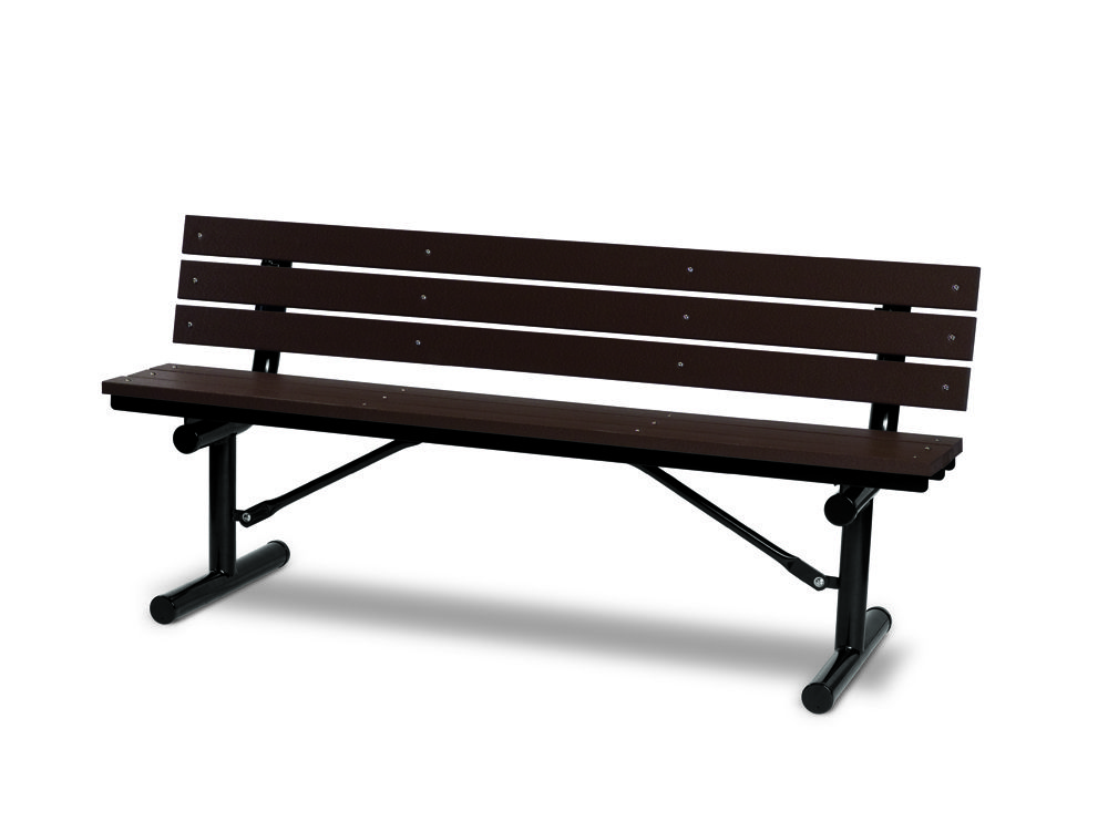 6' Recycled Plastic Plank Bench with Back - Portable (MRGV301G)