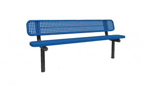 8′ Bench with Back- Perforated – In-Ground