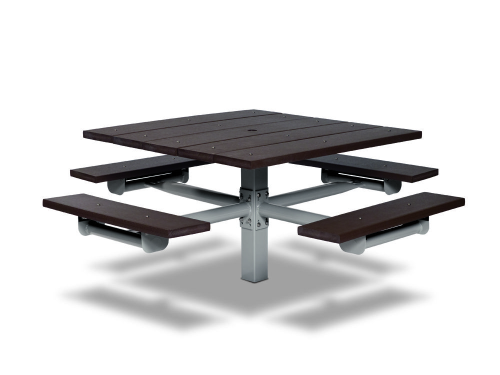 Square Recycled Plastic Table with Four Seats - In-ground (MRGV230G)