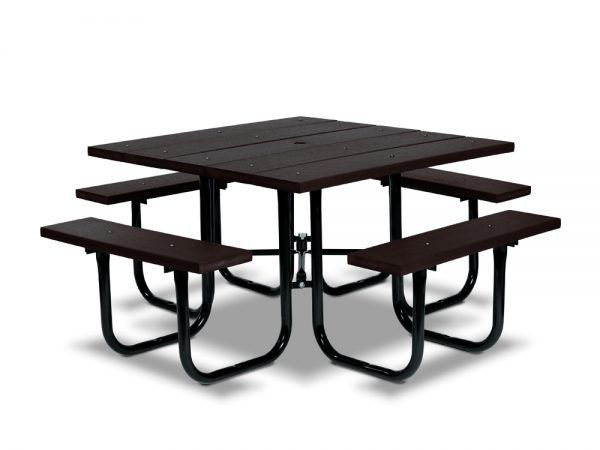 Square Recycled Plastic Table with Four Seats - Portable (MRGV140G)