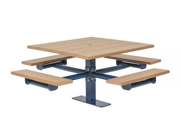 Square Recycled Plastic Table with Four Seats - Surface Mount (MRGV229G)