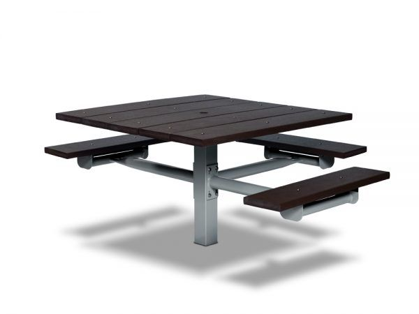 Square Recycled Plastic Table with Three Seats - In-ground (MRGV235G)