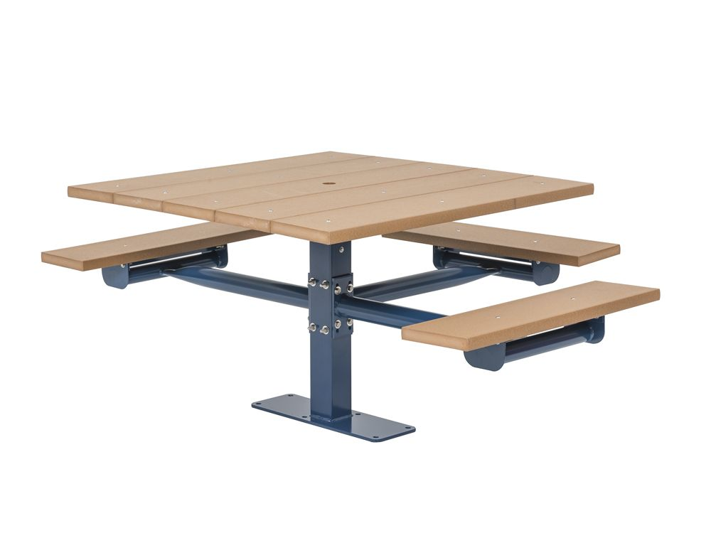 Square Recycled Plastic Table with Three Seats - Surface Mount (MRGV234G)