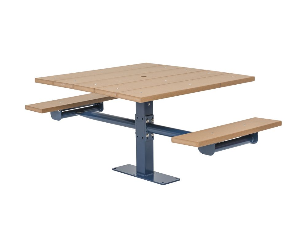 Square Recycled Plastic Table with Two Seats - In-ground (MRGV240G)