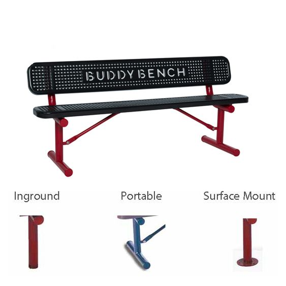 6' Buddy Bench with Back -Perforated - Surface Mount (MRSG306PBB)