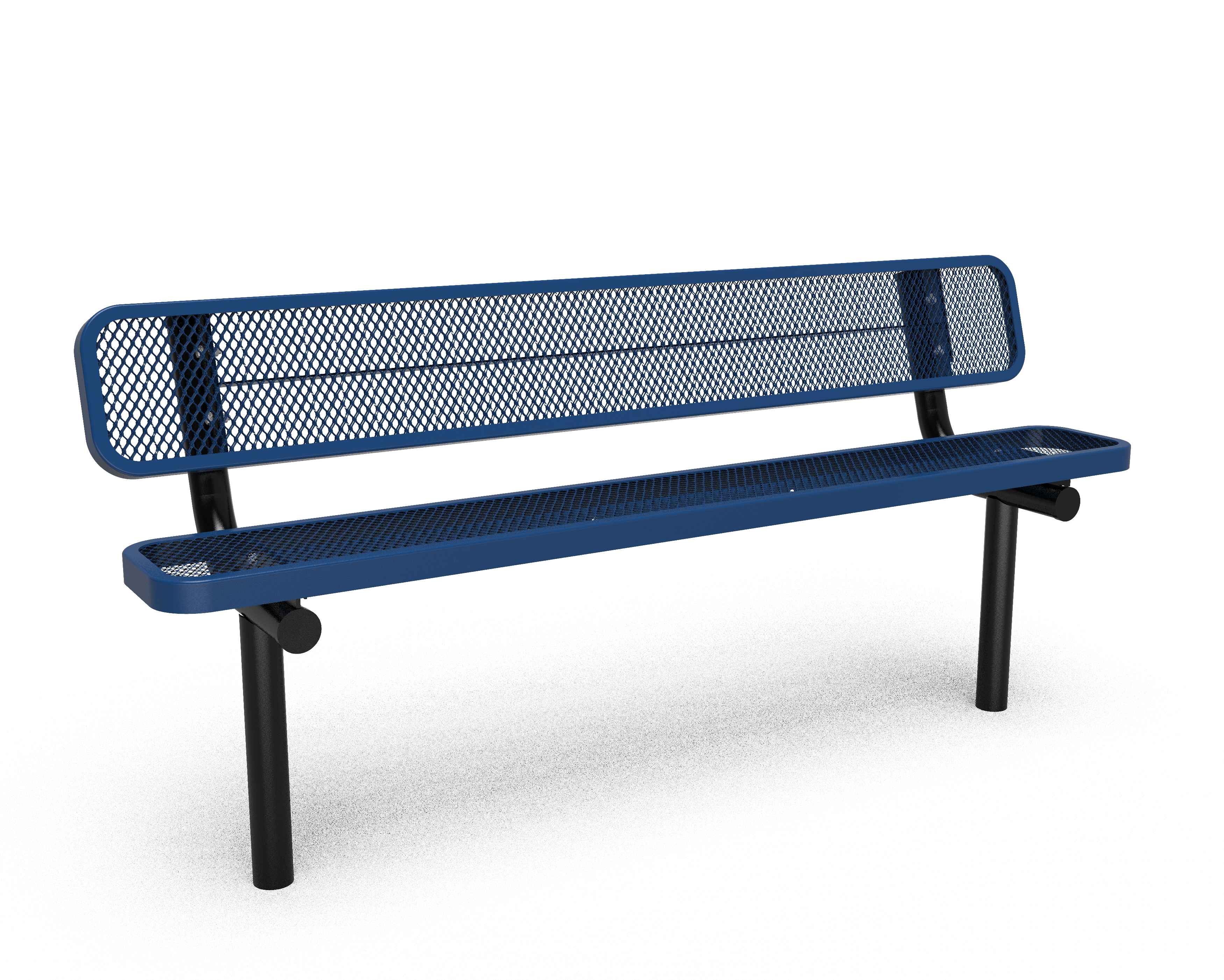 6' Buddy Bench with Back -Perforated - In-ground - Blue (MRSG303DBLW)
