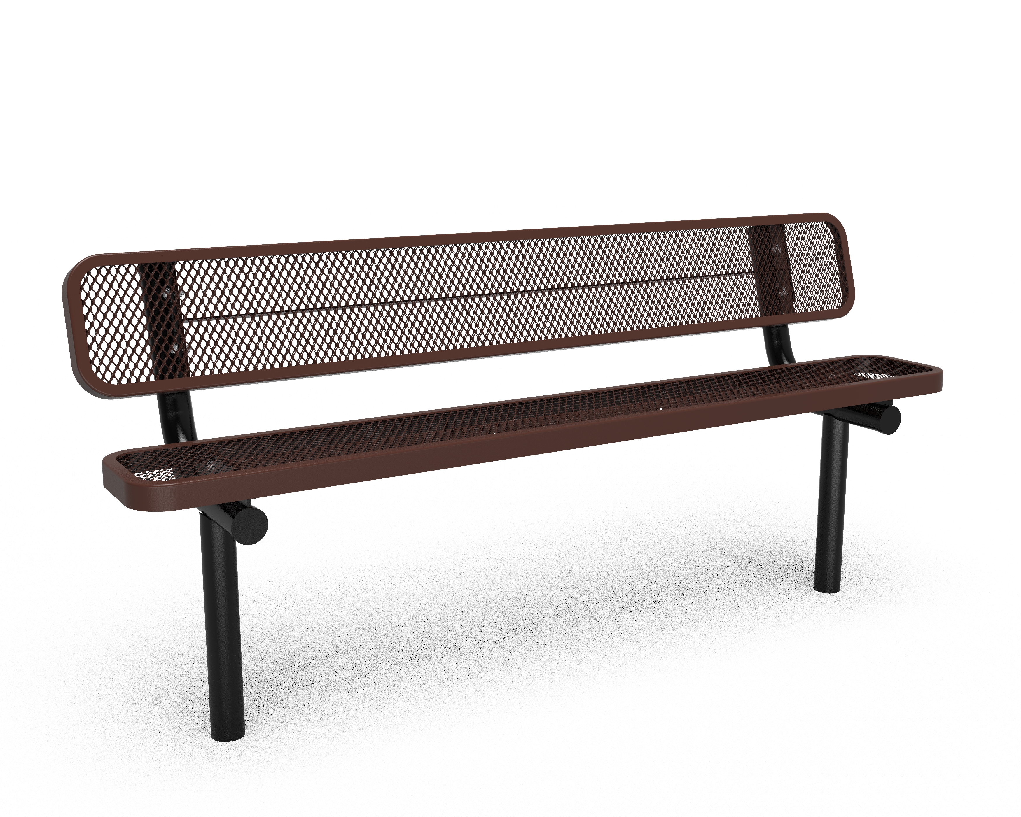 6' Buddy Bench with Back -Perforated - In-ground - Brown (MRSG303DBRW)