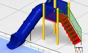 Pool Slide, 1 Flume, Left