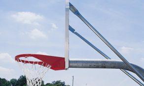 Complete Basketball Goal with Nylon Net and Fixed Steel Fan-Shaped Backboard