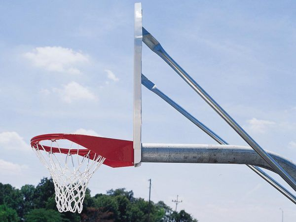 Complete Basketball Goal with Nylon Net and Fixed Steel Fan-Shaped Backboard