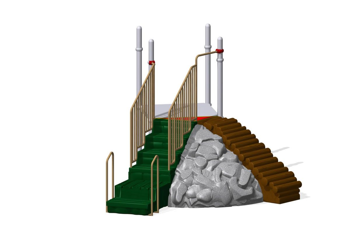 Right Hand Step with Inline Transfer Point Closed Handrails