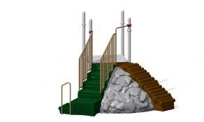 Right Hand Step with Right Hand Transfer Point Closed Handrails
