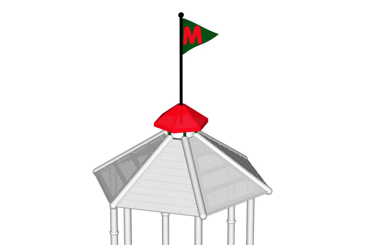 Cupola with Flag Pole for Hexagon Roof