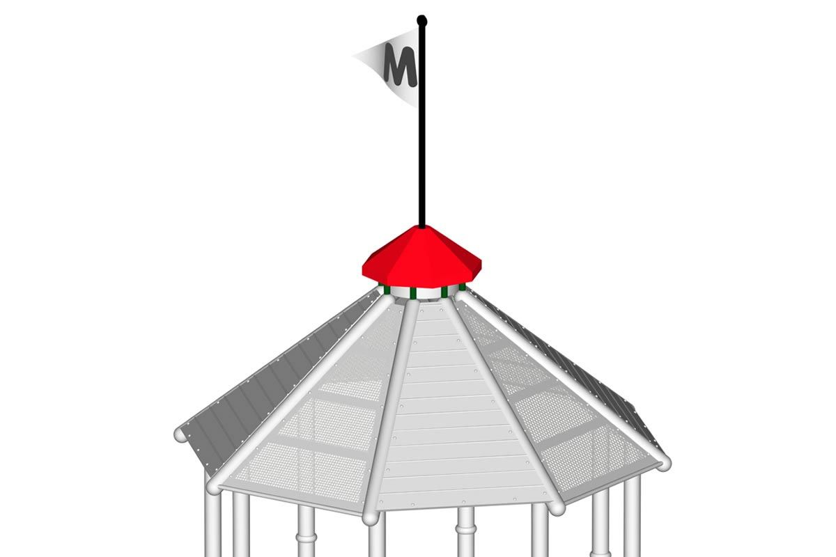 Cupola Top for Octagon Roof with Flag Pole