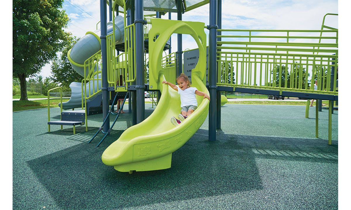 Bright green commercial playground slide