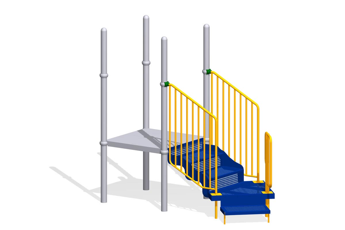 Transfer Point with Single Step, Closed Handrails