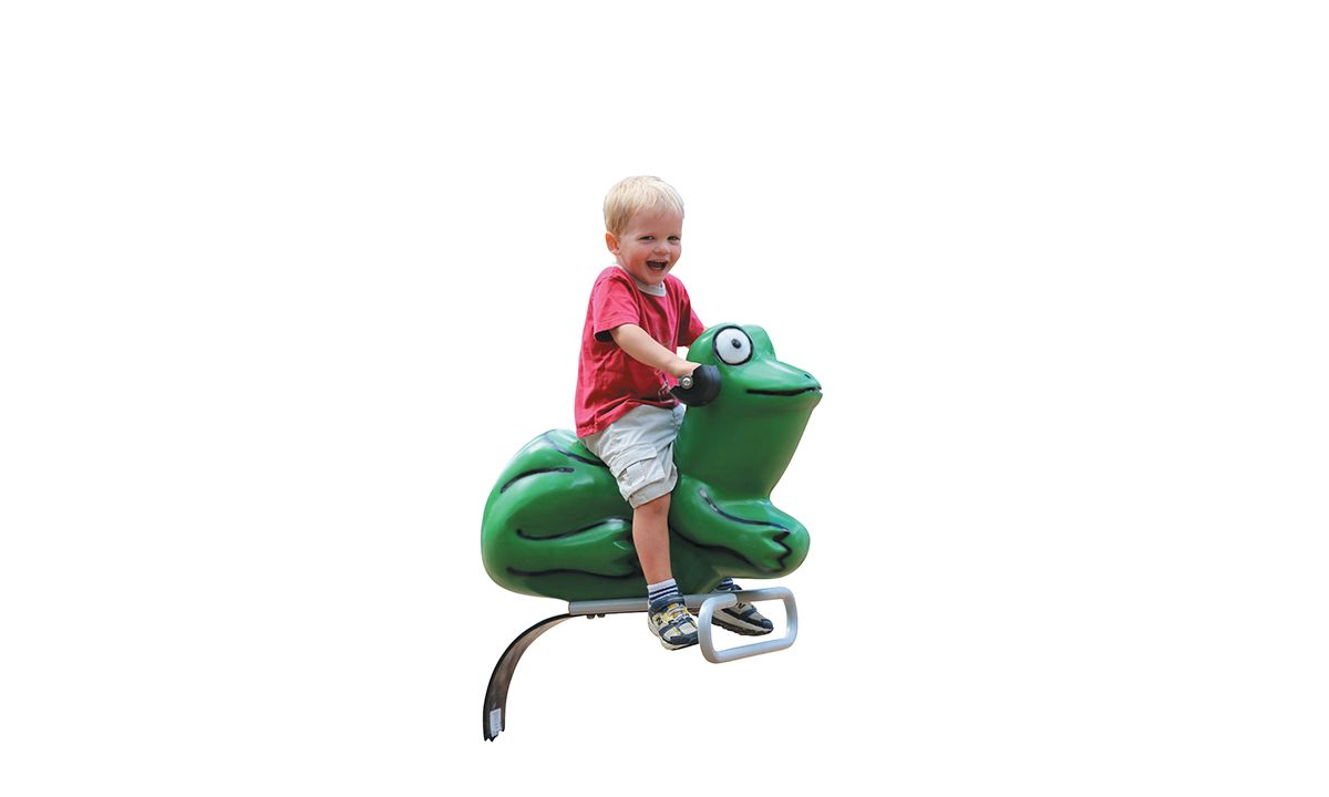 Frog spring riders for playgrounds